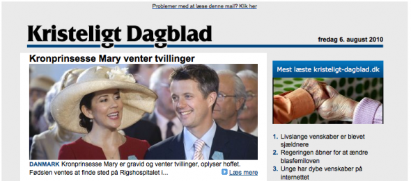 News on royal pregnancy re-allocates traffic on Danish internet