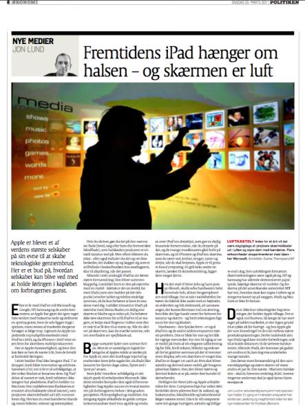Politiken 23 marts 2011, 3 sektion side 8