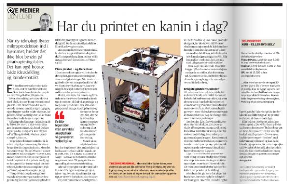 """Opslag i Politiken med analysen """"Har du printet en kanin i dag"""" af Jon Lund. 19. januar 2011"""