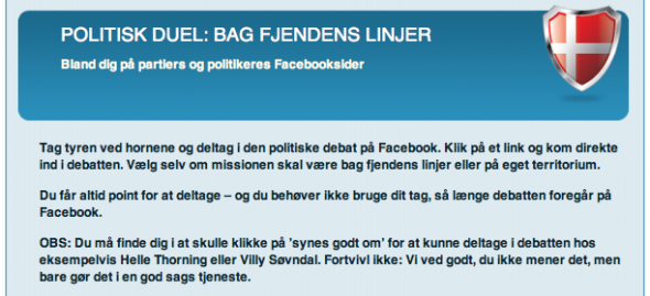 Bag fjendens linier screendump fra Liberal Alliance Freedom Fighter app