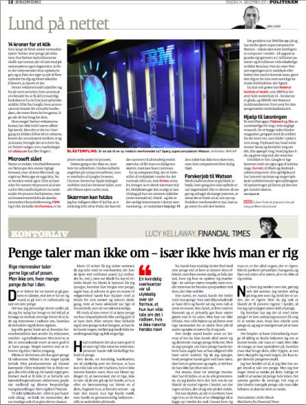 Lund på nettet, Politiken den 14. december 2011