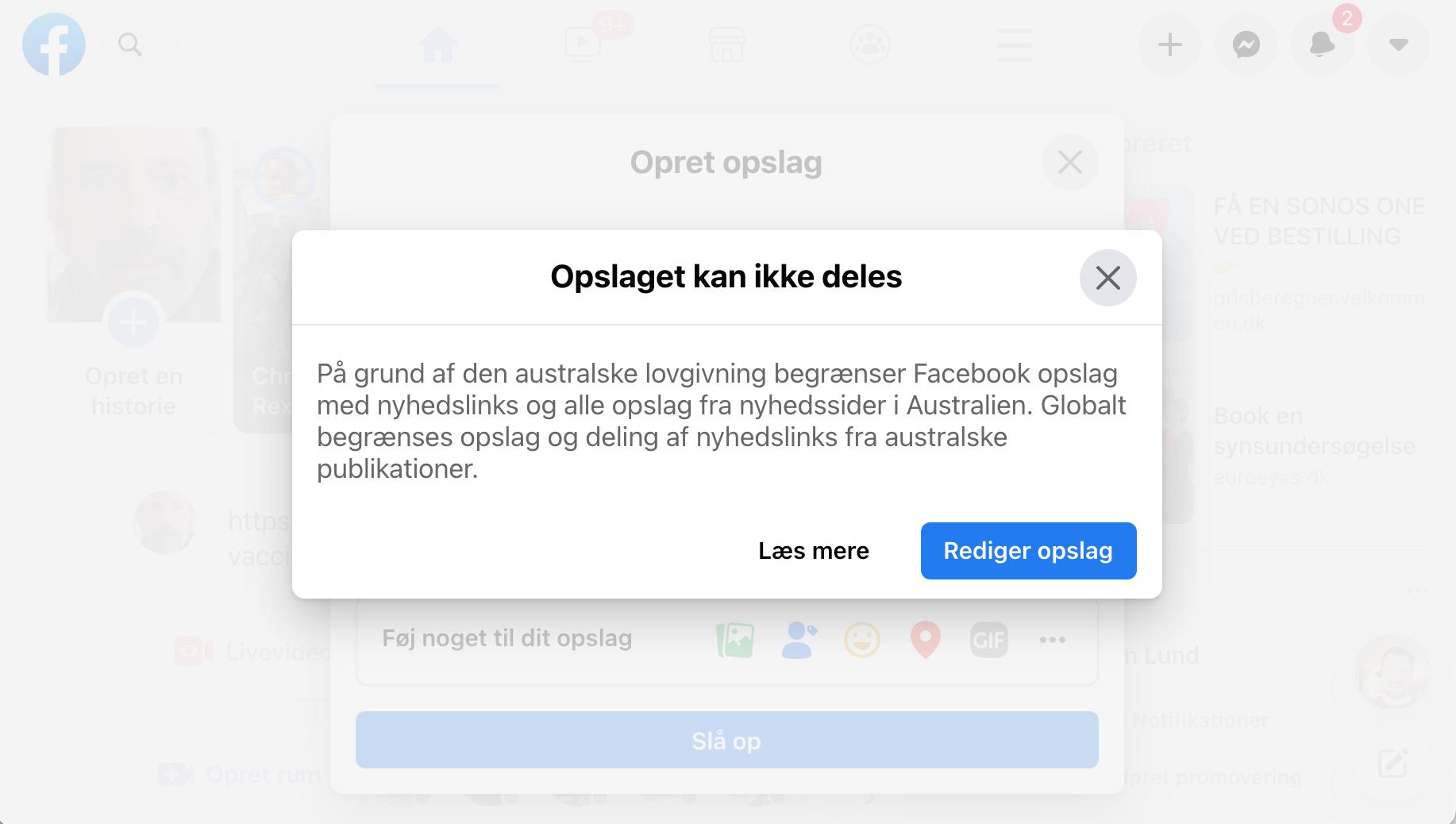 Facebook blokerer nyhedsindhold fra Australien